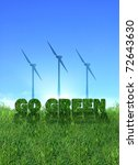 Textured go green sign over fresh grass. Wind turbines over clear blue sky background. - stock photo