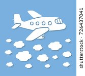 airplane flying above clouds | Shutterstock .eps vector #726437041