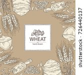 background with wheat  plate... | Shutterstock .eps vector #726440137