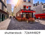 cozy street with tables of cafe ... | Shutterstock . vector #726444829