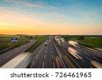 colorful sunset at m1 motorway
