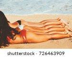 beautiful young woman relaxing... | Shutterstock . vector #726463909