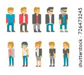 flat design teen students set... | Shutterstock .eps vector #726473245