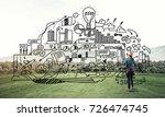 back view of engineer woman in... | Shutterstock . vector #726474745