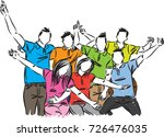 group of happy people... | Shutterstock .eps vector #726476035