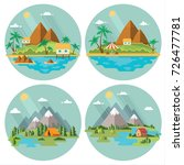 set of beautiful tropical and... | Shutterstock .eps vector #726477781