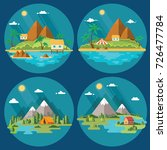 set of beautiful tropical and... | Shutterstock .eps vector #726477784