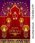 happy diwali festival card with ... | Shutterstock .eps vector #726486199