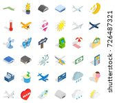 miami icons set. isometric... | Shutterstock .eps vector #726487321