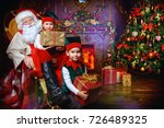 santa claus and the elves... | Shutterstock . vector #726489325