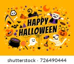 happy halloween poster  lovely... | Shutterstock .eps vector #726490444