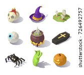 isometric halloween decorations ... | Shutterstock .eps vector #726492757