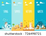 flat design 4 seasons... | Shutterstock .eps vector #726498721