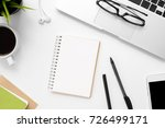 white office desk table with... | Shutterstock . vector #726499171