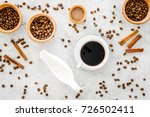 cup of black coffee near coffee ... | Shutterstock . vector #726502411