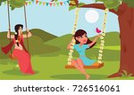young woman playing swings tied ...   Shutterstock .eps vector #726516061