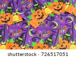 close up on halloween napkin... | Shutterstock . vector #726517051