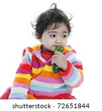 baby girl attempting to eat... | Shutterstock . vector #72651844