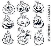 halloween pumpkins curved with... | Shutterstock .eps vector #726522631