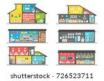 flat design shops interior set... | Shutterstock .eps vector #726523711