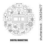 digital marketing concept. flat ... | Shutterstock .eps vector #726524677