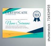 modern geometric certificate of ... | Shutterstock .eps vector #726524935