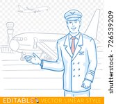 pilot of a civil aircraft... | Shutterstock .eps vector #726539209