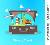 travel concept with open... | Shutterstock .eps vector #726543844
