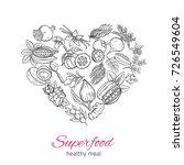 vector hand drawnn superfood in ...   Shutterstock .eps vector #726549604