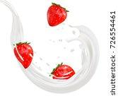 3d strawberry yogurt flavor ad... | Shutterstock .eps vector #726554461