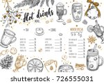 hot drinks winter menu. design... | Shutterstock .eps vector #726555031