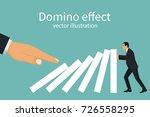 domino effect concept. big hand ... | Shutterstock .eps vector #726558295
