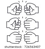 fist bump vector line icon ... | Shutterstock .eps vector #726563407