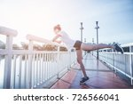woman doing exercises and warm... | Shutterstock . vector #726566041