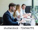 businessman freelancer used... | Shutterstock . vector #726566791