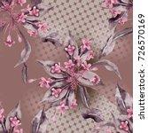 seamless pattern with weigela...   Shutterstock . vector #726570169