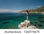 the tourist admires the sea... | Shutterstock . vector #726574675