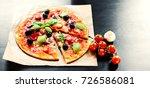 pizza margherita  mozzarella... | Shutterstock . vector #726586081