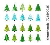 flat christmas winter trees... | Shutterstock .eps vector #726590935