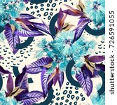 tropical seamless pattern.... | Shutterstock . vector #726591055
