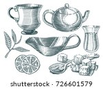 tea set. collection of hand... | Shutterstock .eps vector #726601579