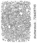 cartoon cute doodles hand drawn ... | Shutterstock .eps vector #726609745