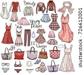 big set with woman dresses... | Shutterstock .eps vector #726612001