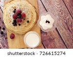 stack of fresh russian pancakes....   Shutterstock . vector #726615274