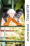 the feet with the shoes of the...   Shutterstock . vector #726618739