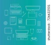 vector set of digital devices | Shutterstock .eps vector #726622531