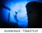 silhouette of a freedive ... | Shutterstock . vector #726627115