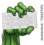 a cartoon green zombie monster... | Shutterstock .eps vector #726627451