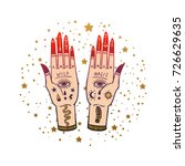 vintage hands with old fashion... | Shutterstock .eps vector #726629635