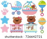 baby toys and accessories on...   Shutterstock .eps vector #726642721
